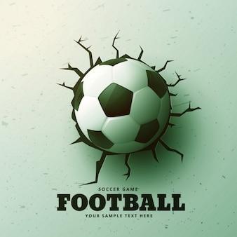 Le football de frapper le mur avec des fissures fond