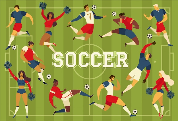 Football joueurs de football fans de pom-pom girls sur le terrain de football