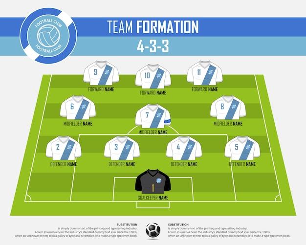 Football ou match de football formation infographique