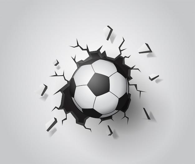 Football sur le mur cassé. illustration vectorielle eps10.