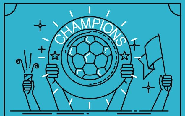 Football soccer player tenant un trophée en tant que gagnant.