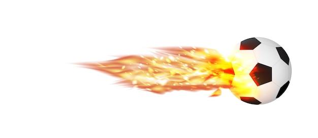 Football soccer avec un vecteur de feu brûlant