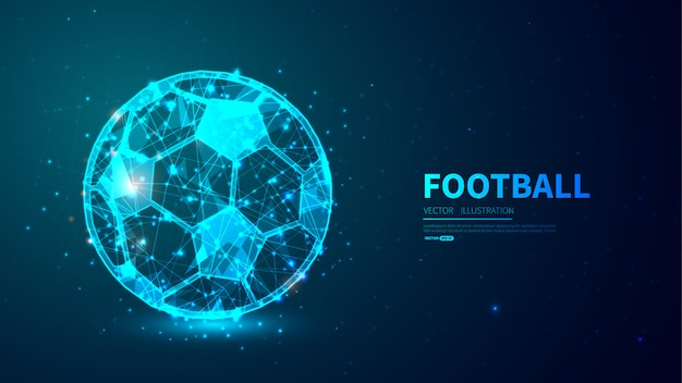 Football avec un style low poly brillant.