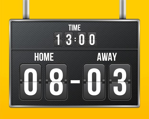 Football, tableau de bord mécanique de football, compte à rebours.