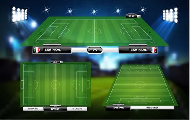 Football ou terrain de jeu de football avec ensemble d'éléments infographiques.