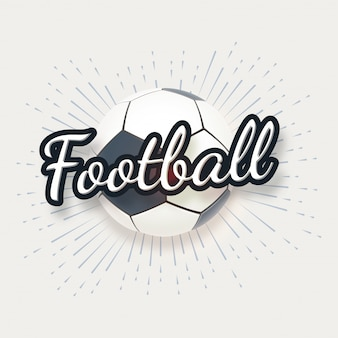 Football avec texte texte élégant sur fond blanc.