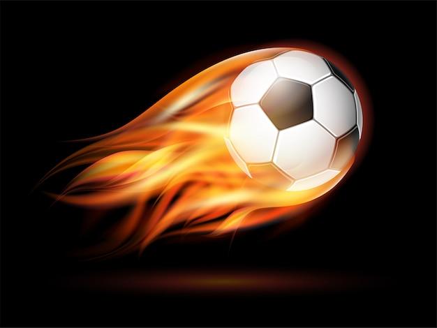 Football volant ou ballon de football en feu.