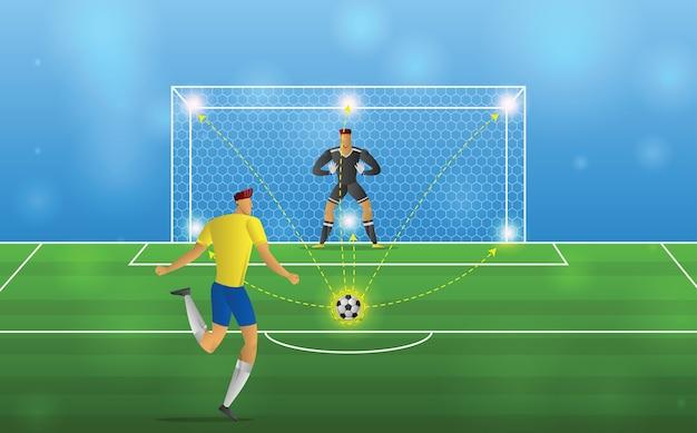 Footballeur en action. pénalités sur fond de stade.