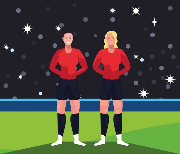 Footballeur, femmes, dans, stade