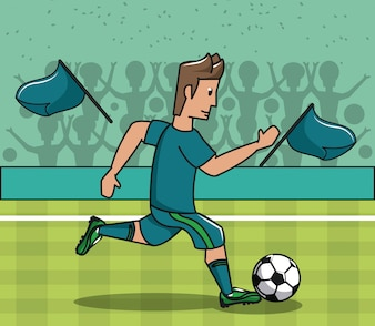 Footballeur jouant sur le terrain avec ballon