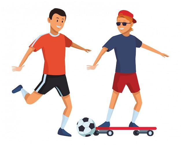 Footballeur et skateur