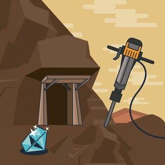 Forage au sol prenant des diamants