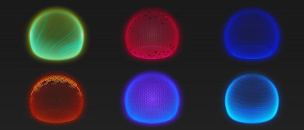 Forcer des bulles de bouclier, diverses sphères de lueur d'énergie