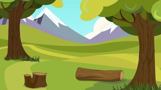 Forest meadow green grass vue sur la vallée