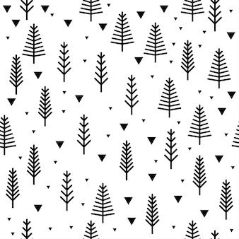 Forêt abstraite sans soudure de fond. couverture enfantine simple dessinée à la main pour carte de conception, papier peint, album, album, papier d'emballage de vacances, tissu textile, impression de sac, t-shirt, etc.