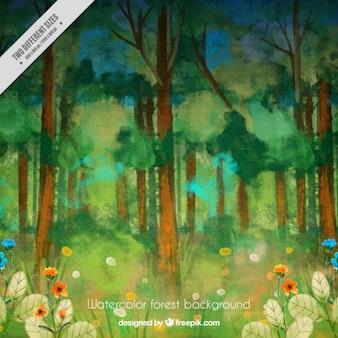 Forêt aquarelle avec des fleurs