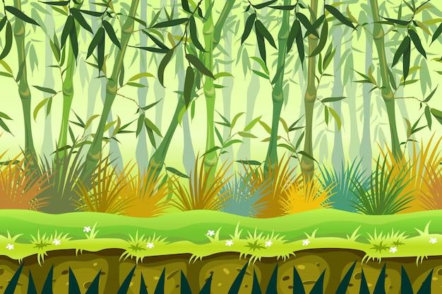 Forêt de bambous de fond sans couture dessin animé.