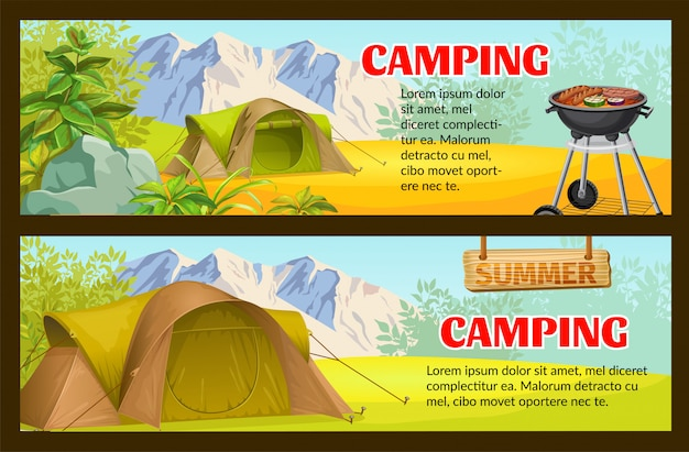 Forêt camping avec modèle de bannière de tente touristique