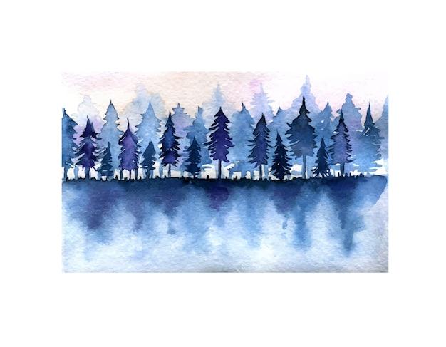 Forêt d'épinette bleu foncé et illustration aquarelle de paysage de ciel rose