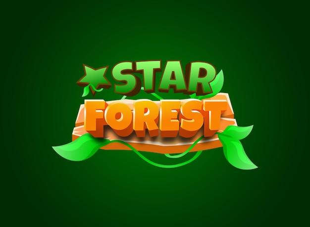 Forêt d'étoiles drôle avec effet de texte de titre de logo de jeu modifiable par cadre en bois