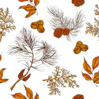 Forêt fond sans couture vintage avec des hiboux, des branches d'épinette