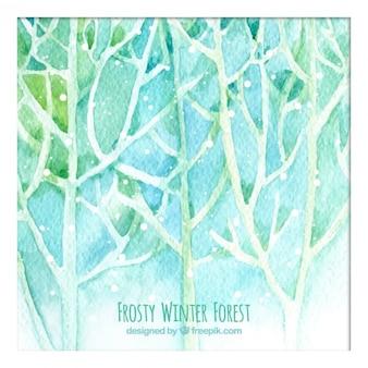 Forêt d'hiver peinte à la main glaciale