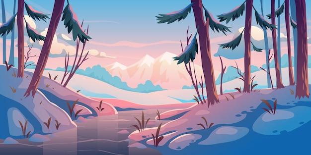 Forêt d'hiver avec rivière gelée.