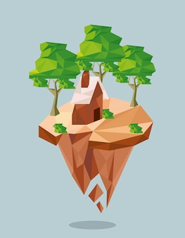 Forêt et maison lowpoly