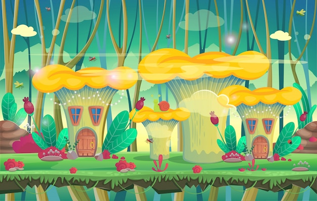 Forêt avec maisons aux champignons. illustration vectorielle pour les jeux