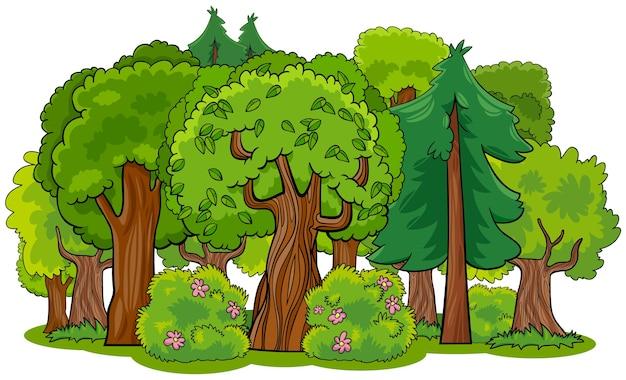 Forêt mixte avec illustration de dessin animé d & # 39; arbres