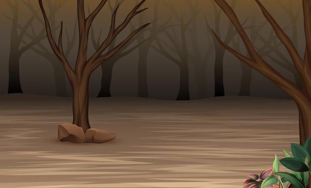 Forêt mystérieuse d'halloween brumeuse