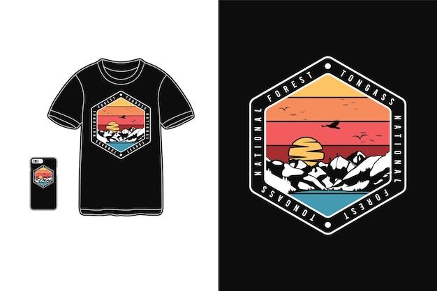 Forêt nationale de tongass, style rétro de silhouette de marchandise de t-shirt