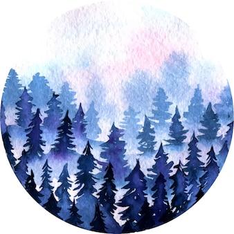 Forêt de neige épinette bleu foncé et nuages roses paysage aquarelle ronde illustration