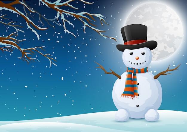 Une forêt de nuit d'hiver avec un bonhomme de neige de voeux