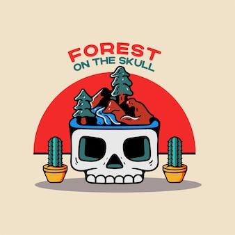 Forêt sur le personnage de style vintage crâne
