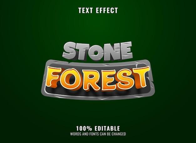 Forêt de pierre 3d avec effet de texte de titre de logo de jeu de cadre de pierre