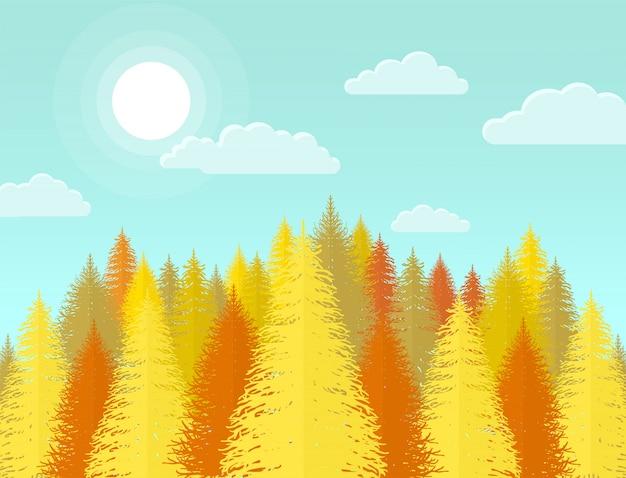 Forêt de pins conifères en automne, paysage naturel avec arbre jaune