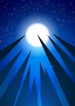 Forêt de pins sur l'illustration du ciel nocturne