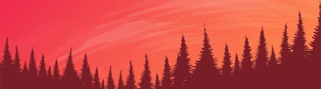 Forêt de pins panoramique avec rivière, fond de paysage, conception de concept de brouillard et de brume.