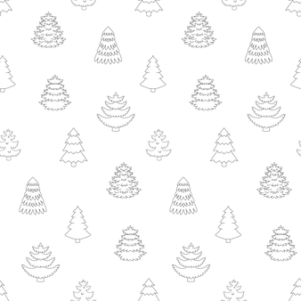 Forêt de sapins de contour de modèle sans couture.