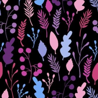 La forêt sauvage laisse le modèle sans couture. illustration de baie de branche bleue. illustration vectorielle sur fond noir