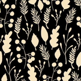 La forêt sauvage laisse le modèle sans couture. illustration de baies de branche d'or. illustration vectorielle sur fond noir