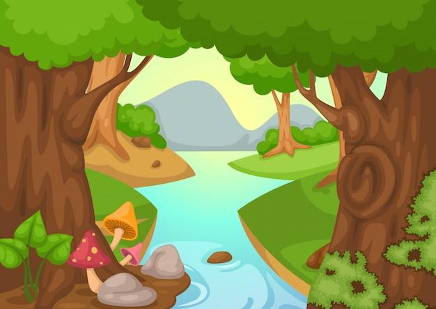 Forêt avec un vecteur de fond de rivière