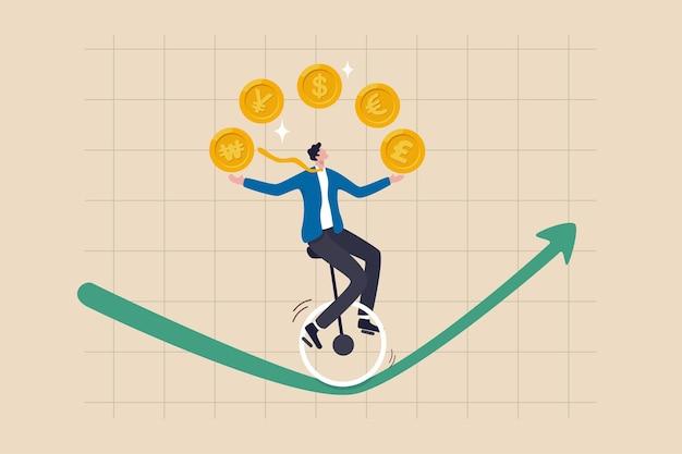 Forex, commerce de devises, investir dans le prix des devises ou le concept de spéculation économique du pays, homme d'affaires expert jonglant avec les pièces de monnaie, le dollar, l'euro, la livre, le yen japonais et le won coréen.