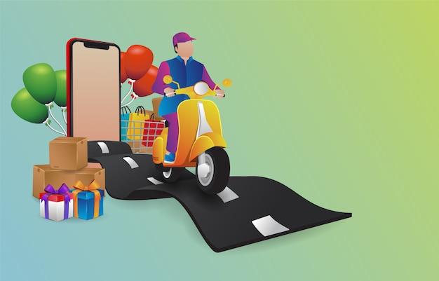 Forfait courrier illustration premium conduite le scooter sur la route ondulée