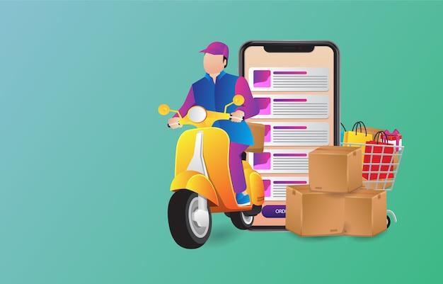 Forfait courrier d'illustration de vecteur premium sur le scooter