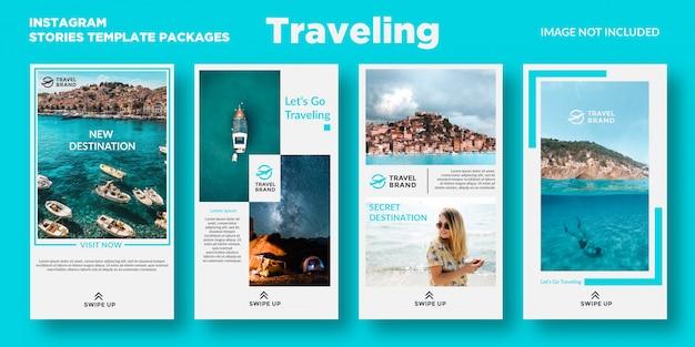 Forfaits de modèles d'histoires de voyage instagram
