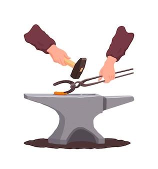 Forgeron. enclume. mains tenant des pinces et un marteau. un fer à cheval brûlant. dans un style plat.
