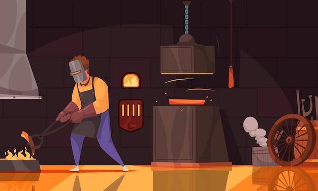 Forgeron portant des gants de tablier en cuir et un écran facial chauffant une pièce de fer dans un feu de charbon