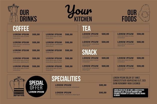 Format horizontal de conception de menu numérique